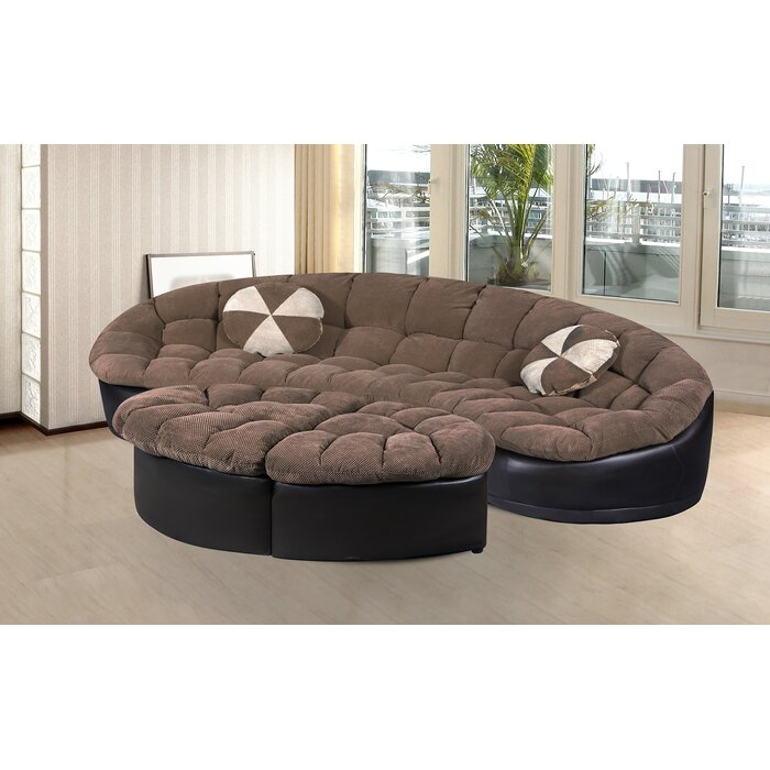 Ilyas Living Room Symmetrical Sectional With Ottoman
