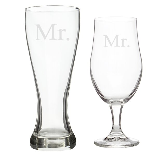 2 Piece Mr. and Mr. Pilsner Glass Set by Cathys Concepts