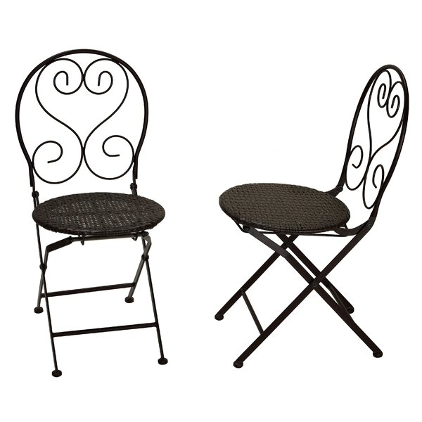 Hillesden Indoor/Outdoor Metal Folding Patio Dining Chair with Wicker (Set of 2) by Fleur De Lis Living