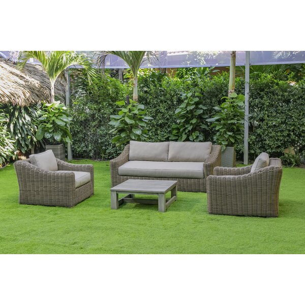 Jazmine 4 Piece Rattan Sofa Seating Group with Cushions by Rosecliff Heights
