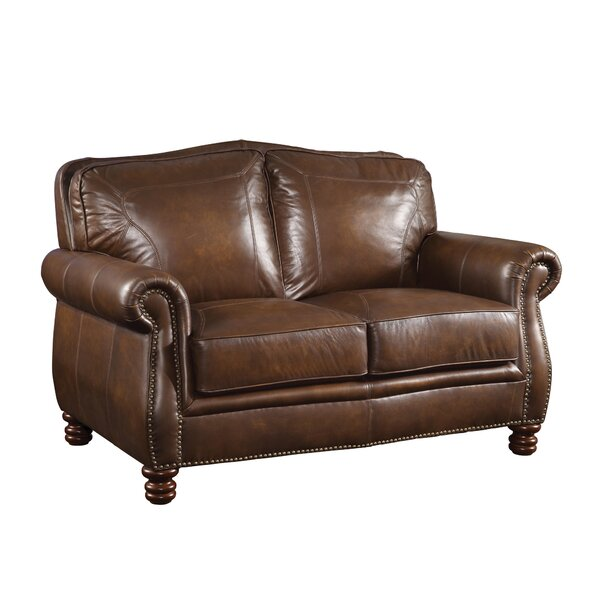 Linglestown Leather Loveseat by Darby Home Co