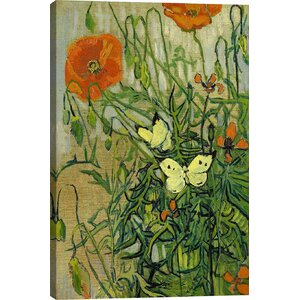 'Butterflies and Poppies' by Vincent van Gogh Graphic Art Print by East Urban Home