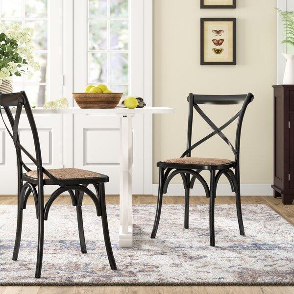 Glenbrook Solid Wood Cross Back Side Chair In Black (Set Of 2) By Birch Lane™ Heritage