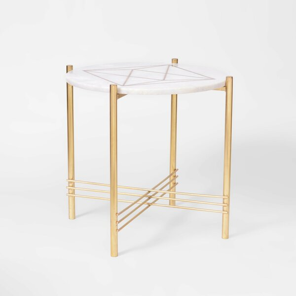 Clio Marble and Brass Round End Table by Mercer41