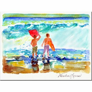 'Boogie Boarders' by Wendra Painting Print on Canvas by Trademark Fine Art