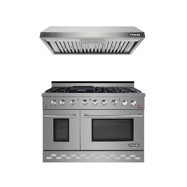 48 7.2 cu. ft. Freestanding Gas Range with Griddle with Range Hood