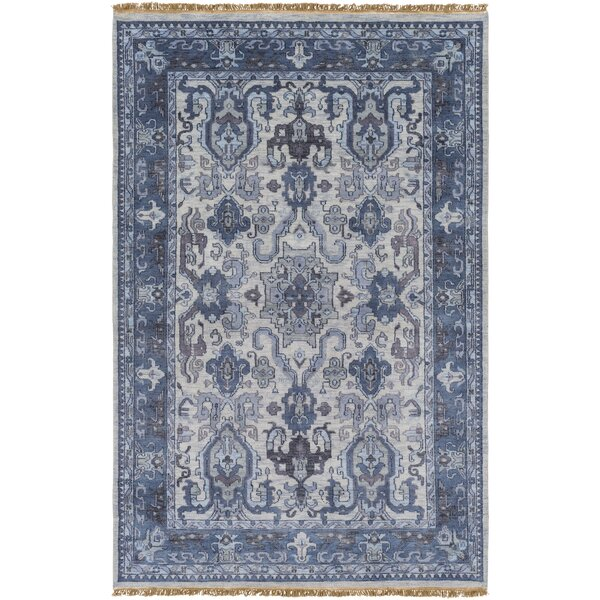 Orland Hand-Knotted Navy Area Rug by Red Barrel Studio