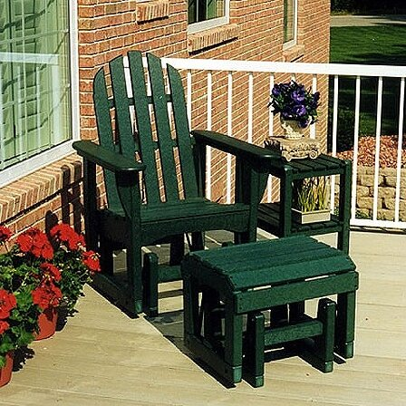 Glider Adirondack Chair and Ottoman Set by POLYWOOD®