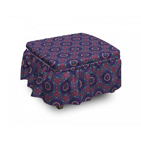 Vintage Floral Design Stripes 2 Piece Box Cushion Ottoman Slipcover Set By East Urban Home