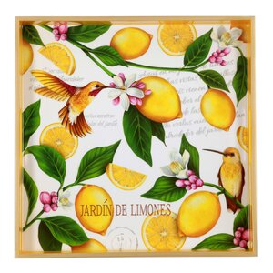 Lemon Garden Square Wooden Tray