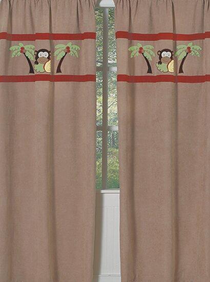 Monkey Wildlife Semi-Sheer Rod Pocket Curtain Panels (Set of 2) by Sweet Jojo Designs