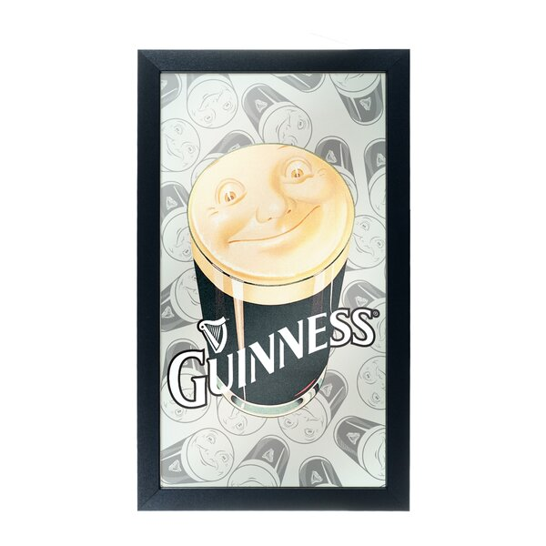 Guinness Smiling Pint Framed Logo Accent Mirror by Trademark Global