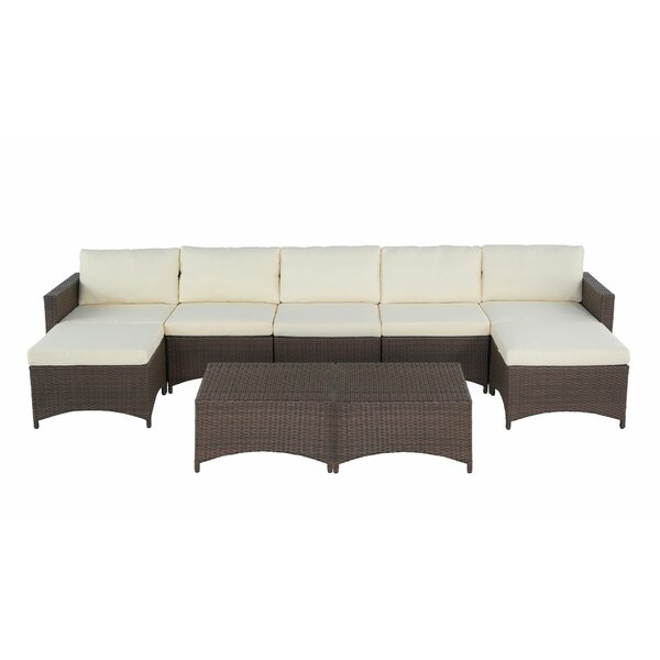 Alfred 4 Piece Rattan Sectional Seating Group with Cushions by Bayou Breeze