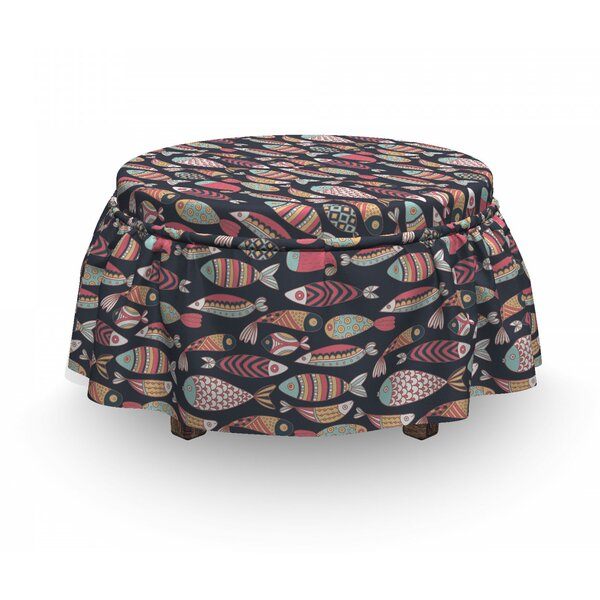 Marine Ornate Fish Doodle Ottoman Slipcover (Set Of 2) By East Urban Home