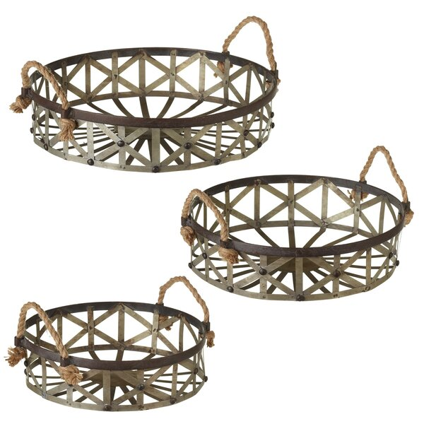 Albinson Round Woven Galvanized 3 Piece Accent Tray Set by Gracie Oaks