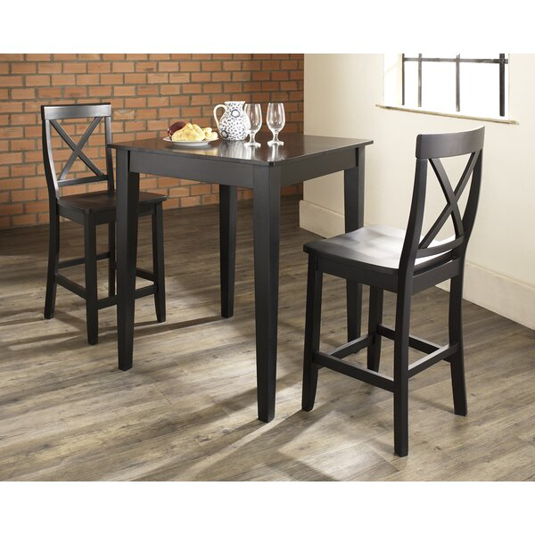 Great Charlton Home Pershore 3 Piece Pub Table Set With Tapered Leg Table And  X Back Barstools U0026 Reviews | Wayfair
