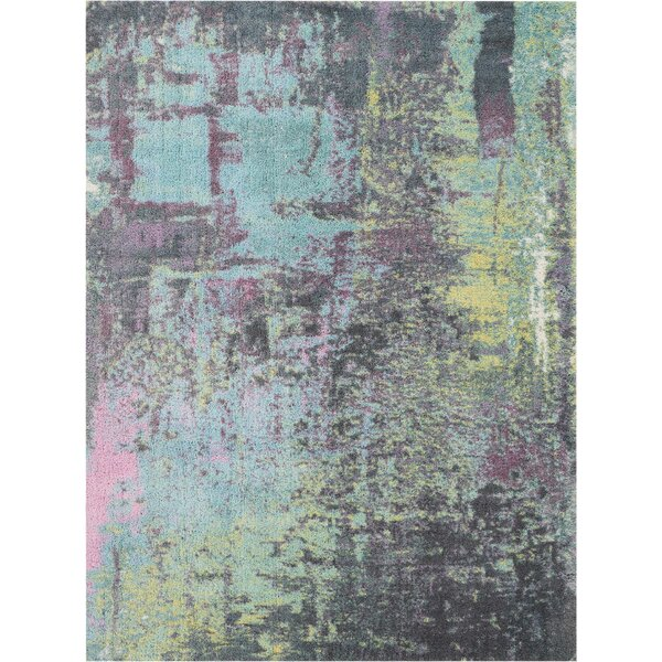 Carnglass More Hand-Tufted Teal Area Rug by Ivy Bronx