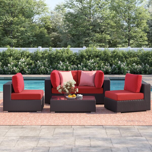 Brentwood 5 Piece Rattan Sectional Set with Cushions by Sol 72 Outdoor