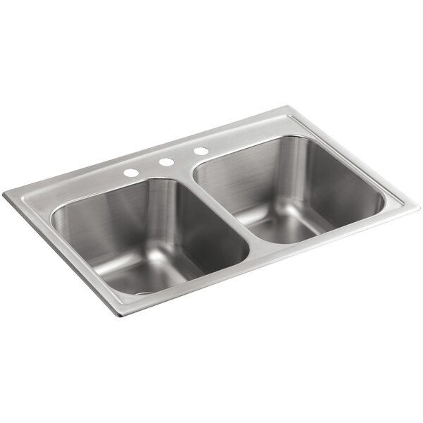 Toccata 33 L x 22 W x 9-1/4 Top-Mount Double-Equal Kitchen Sink by Kohler