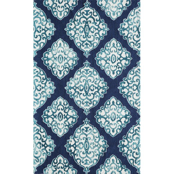Lucy Hand-Hooked Navy/White Area Rug by Bungalow Rose