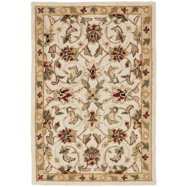 Helena Hand-Hooked Wool Ivory Area Rug by Charlton Home