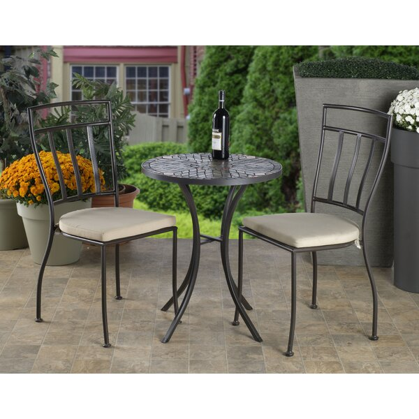 Almonburry Mosaic 3 Piece Bistro Set with Cushions by Bungalow Rose