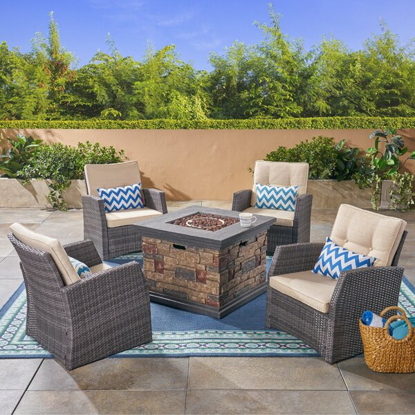 Loganville 5 Piece Sofa Seating Group with Cushions by Rosecliff Heights