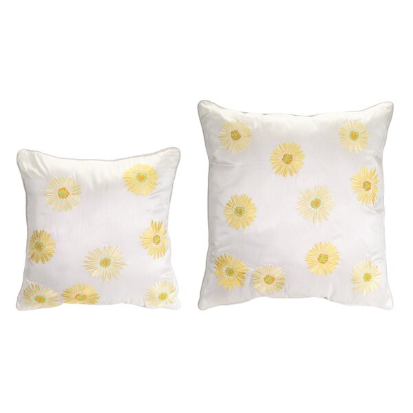 2 Piece Embroidered Daisy Throw Pillow Set by Melrose International
