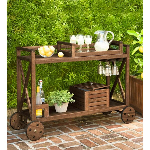 Claremont Eucalyptus Rolling Outdoor Bar Cart By Plow & Hearth Today Sale Only