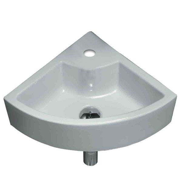 Unique Ceramic Specialty Wall-Mount Bathroom Sink with Faucet and Overflow by American Imaginations