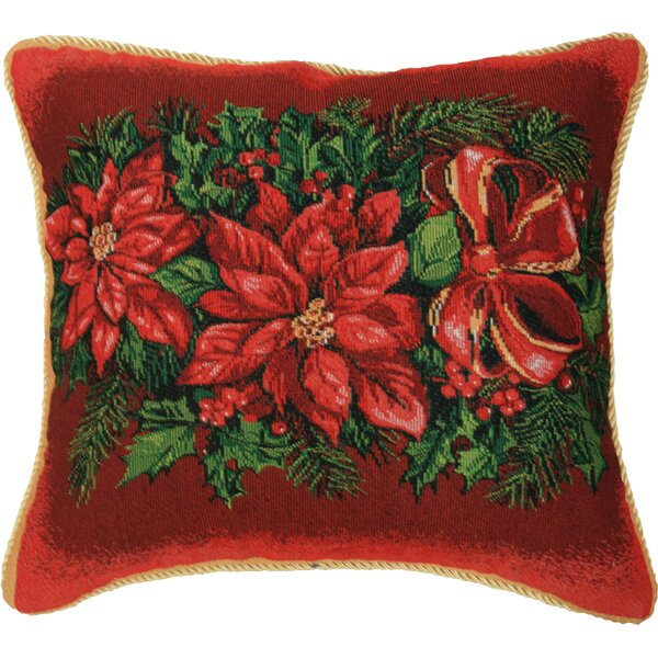 Christmas Poinsettia Design Throw Pillow by Violet Linen
