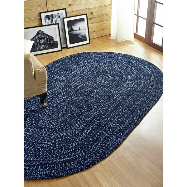 Chenille Reverible Tweed Braided Navy/Smoke Blue Indoor/Outdoor Area Rug by Better Trends