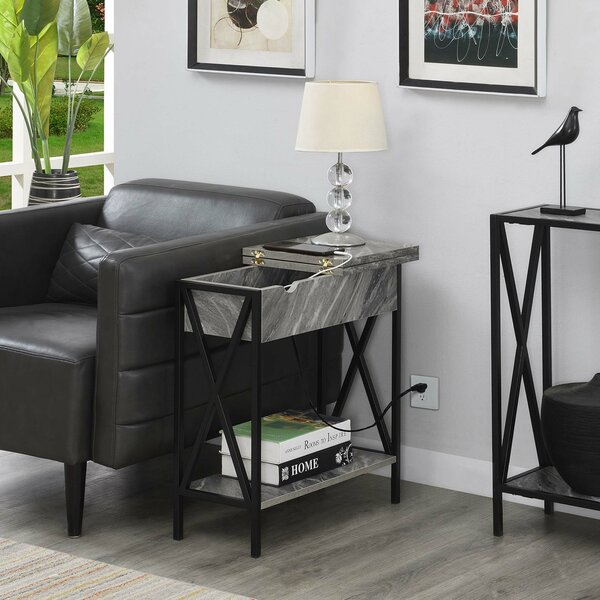 Abbottsmoor End Table With Built-In Outlets By Andover Mills™