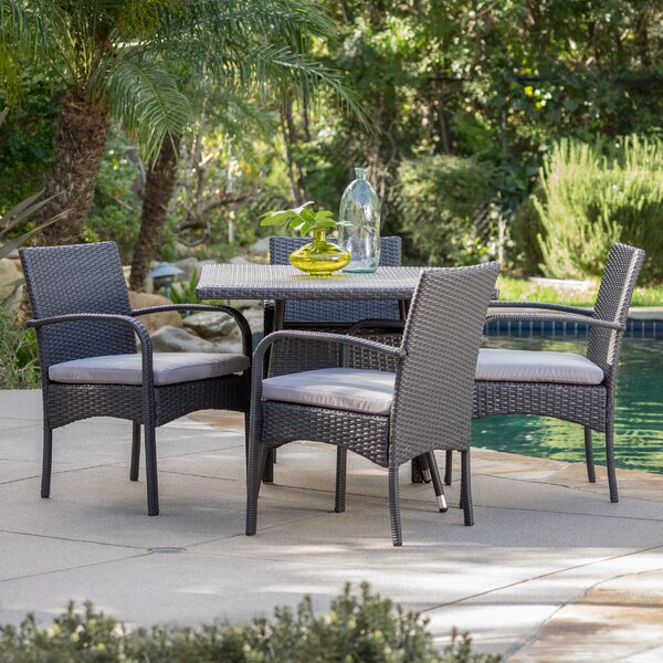 Mathiatis 5 Piece Dining Set with Cushions by Bay Isle Home