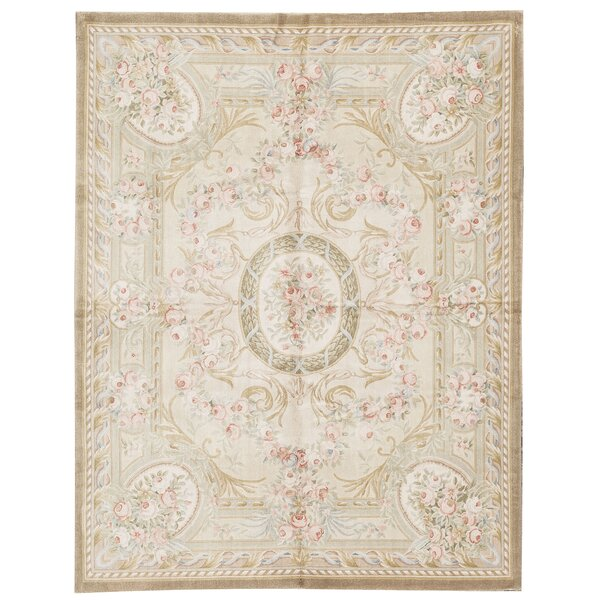 One-of-a-Kind Savonnerie Hand-Knotted Beige 8' x 10'1 Wool Area Rug