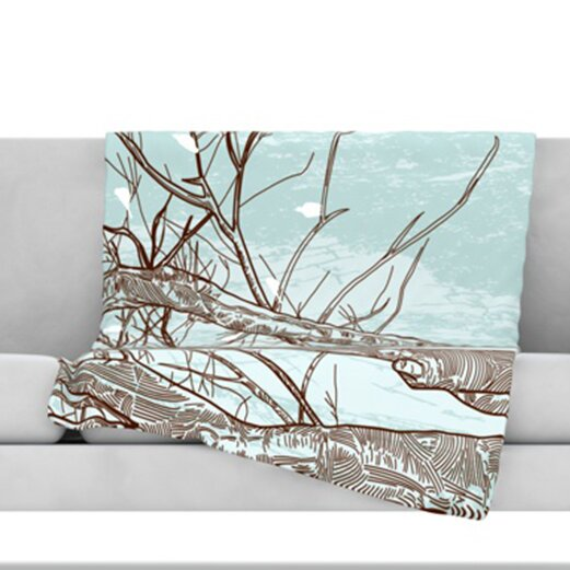 Winter Trees Fleece Throw Blanket by KESS InHouse