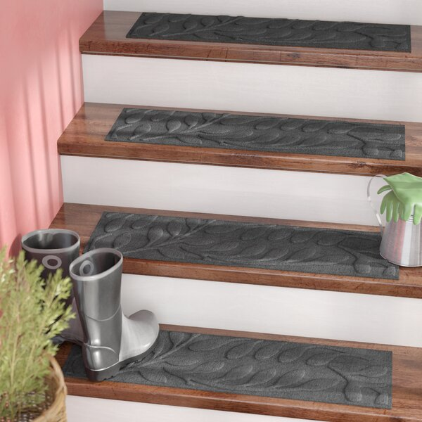 Bilmont Charcoal Brittany Leaf Stair Tread (Set of 4) by Andover Mills