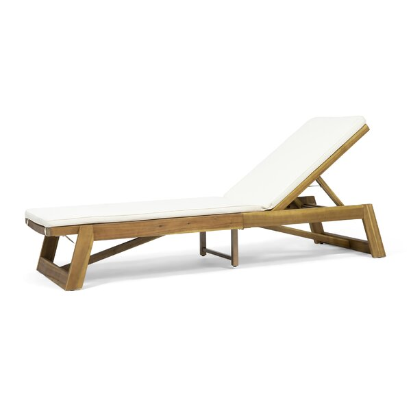 Gavyn Outdoor Reclining Chaise Lounge with Cushion by Breakwater Bay