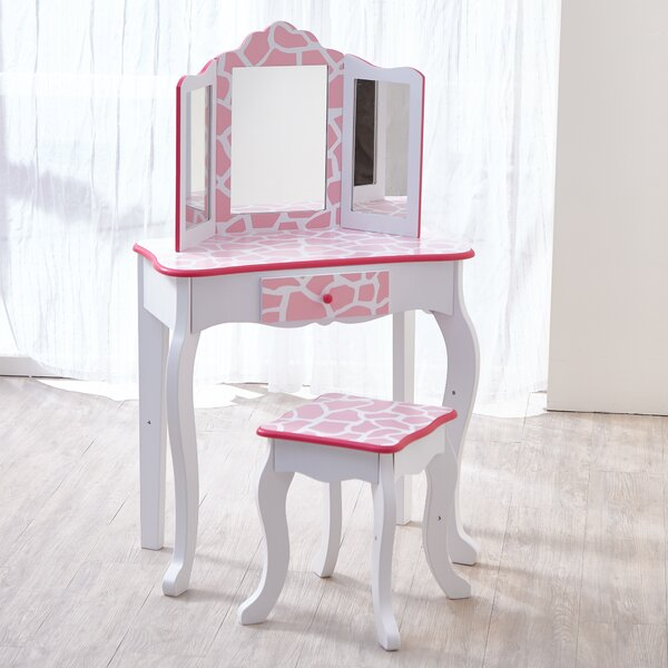Gisele Vanity Table and Stool Set with Mirror by Teamson Kids
