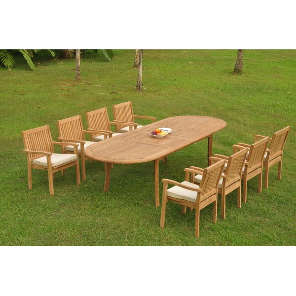 Sabastian 9 Piece Teak Dining Set by Rosecliff Heights