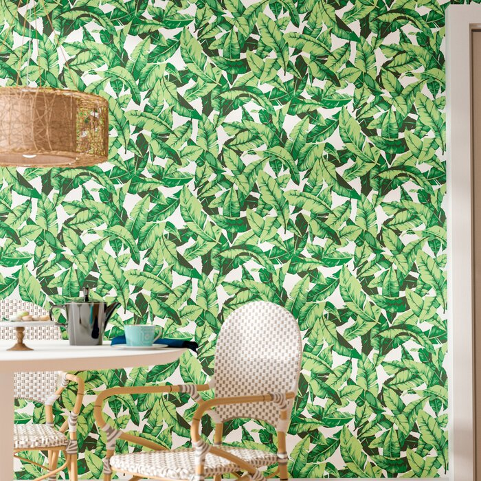 Oden Palm Leaf 16 5 L X 20 5 W Floral And Botanical Peel And Stick Wallpaper Roll