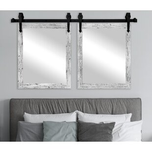 Gracie Oaks 2 Piece Nicholle Weathered Farmhouse Mirror Set