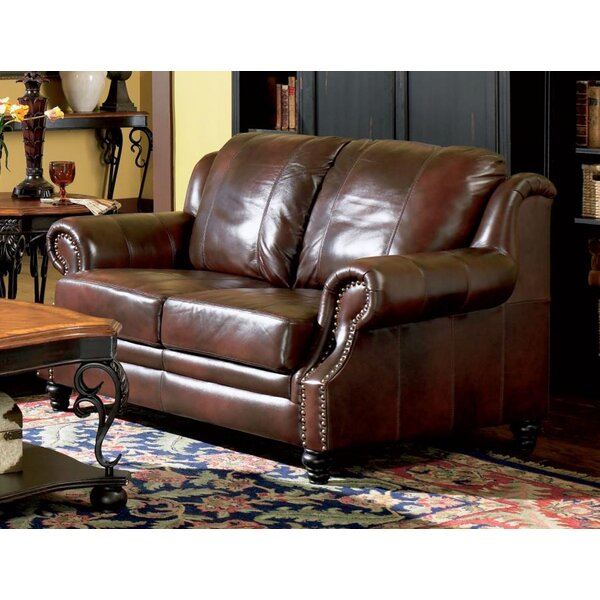 Great Selection Rosetta Leather Loveseat New Seasonal Sales are Here! 65% Off
