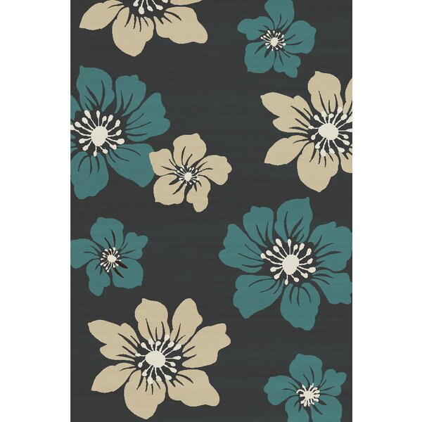 Bradshaw Hand-Tufted Charcoal/Teal Bloom Area Rug by Winston Porter