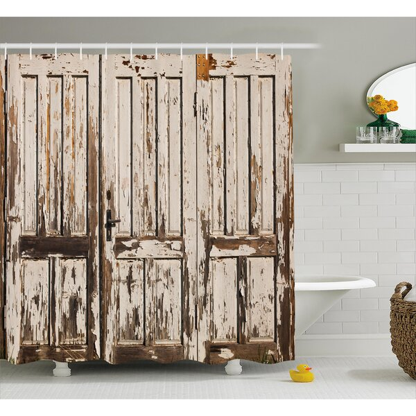 Vintage Vertical Lined Planks Shower Curtain by East Urban Home