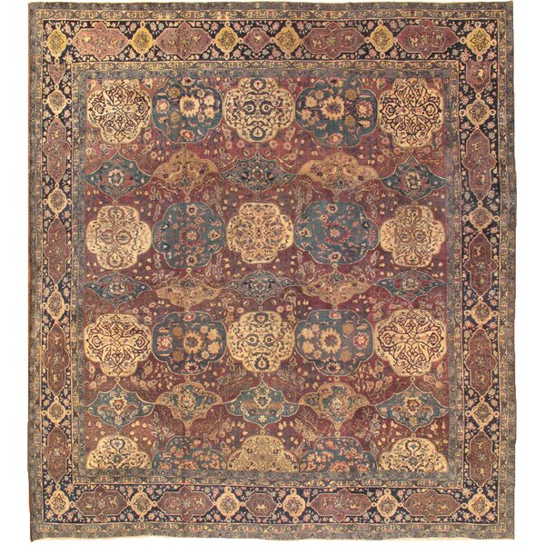 Agra Antique Hand Knotted Wool Maroon/Navy Area Rug by Pasargad