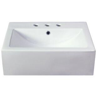 Semi-Recessed Rectangular Vessel Bathroom Sink