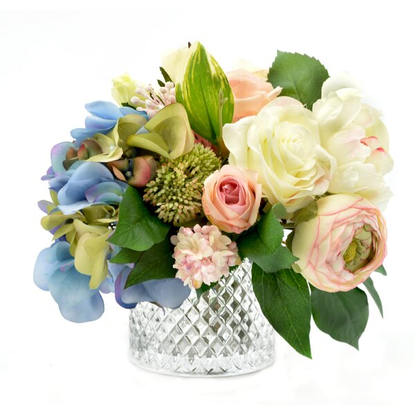 Mixed Hydrangea and Rose Bouquet by House of Hampton