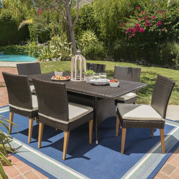 Saurabh Outdoor 7 Piece Dining Set with Cushions by Latitude Run