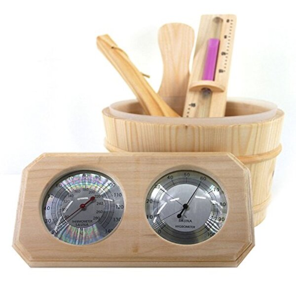 4 Piece Deluxe Pine Wood Sauna Thermo Hygrometer, Sand Timer, Ladle and Bucket Set by ALEKO